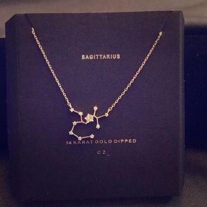 Sagittarius pendant necklace 14 karat gold dipped
